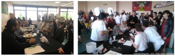 Les gagnants : les Junior Chefs avec leur Artichauts Party et les Choco'forts avec leur Layer Cake choco-fraise © Projet Marguerite 2018 – Photos : Julie Le Gall et Myriam Laval