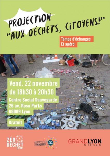 """Participez au ciné-débat """"Aux déchets, citoyens !"""" animé par Zéro Déchet Lyon le 22 novembre prochain"""