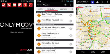 capture d'écrans de l'application smartphone