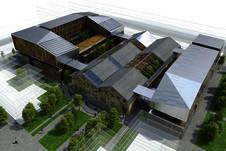 Perspective aérienne de la future Grande Halle © Reichen et Robert & Associés