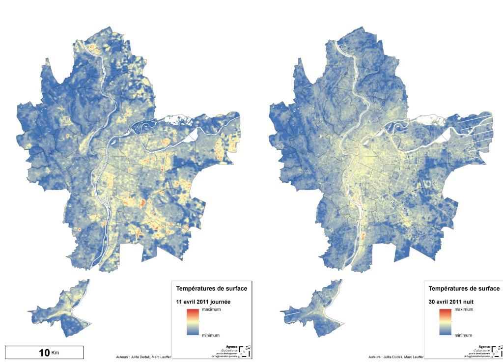 Proposition de mise en forme des deux cartes : la photo satellite de jour a été prise le 11 avril 2011 à midi, celle de nuit le 30 avril à 23h.
