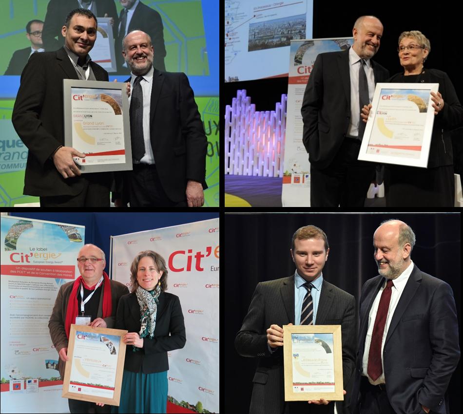 4 collectivités sont labellisées Cit'ergie. De gauche à droite aux côtés de l'ADEME : Métropole de Lyon (Vice-Président Bruno Charles)