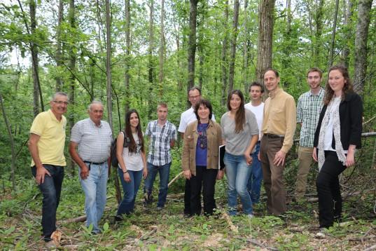 Visite en forêt des partenaitres Sylv'ACCTES: financeurs, propriétaires forestiers et gestionnaires.